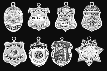 Dimensional 1 sterling silver police badge charm free shipping